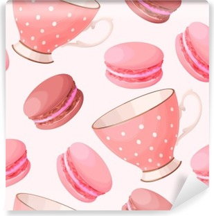 Vinil Duvar Resmi Dikişsiz teacups ve macarons