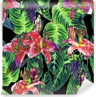 Vinil Duvar Resmi Dikişsiz tropikal çiçek deseni. Pembe lilyum ve siyah arka plan üzerinde egzotik Calathea yaprakları, ters etki. El suluboya sanat boyalı. Kumaş doku.