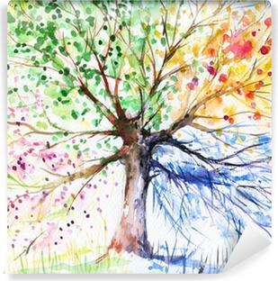 Vinil Duvar Resmi Dört mevsim ağaç