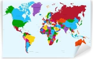 Vinil Duvar Resmi Dünya haritası, renkli ülkeler EPS10 vektör dosyası atlas.