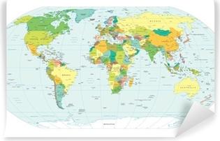 Vinil Duvar Resmi Dünya haritası siyasi sınırları