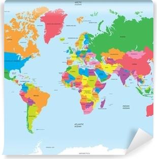 Vinil Duvar Resmi Dünya vektörü siyasi haritası
