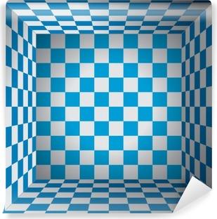Vinil Duvar Resmi Ekose oda, mavi ve beyaz hücre, 3d satranç kutusu, Oktoberfest vektör tasarım arka plan