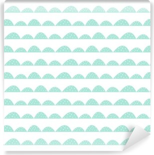 Vinil Duvar Resmi El çizilmiş tarzı İskandinav kesintisiz nane desen. Stilize tepe satırları. kumaş, tekstil ve bebek keten basit bir desen Dalga.