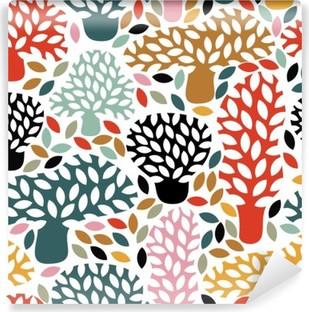 Vinil Duvar Resmi Elle çizilmiş doodle ağaçları ile vektör çok renkli seamless pattern. Özet sonbahar doğa arka plan. kumaş tasarımı, tekstil sonbahar baskılar, ambalaj kağıdı.