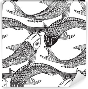 Vinil Duvar Resmi Elle çizilmiş Koi balıkları ile sorunsuz vektör desen