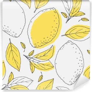 Vinil Duvar Resmi Elle çizilmiş limon ve yaprakları ile sorunsuz desen anahat. paket veya mutfak tasarımı için Doodle meyve