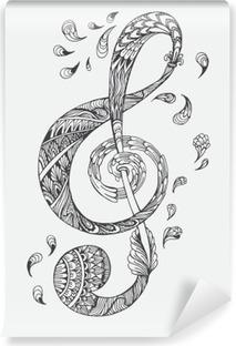 Vinil Duvar Resmi Etnik süsler doodle desenli elle çizilmiş müzik tuşu. Vektör çizim Kına Mandala Zentangle Kapak kitap veya karta, daha fazla dövme için stilize. Yetişkinler için manevi rahatlama için tasarım.