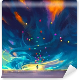 Gün Batımı Illüstrasyon Boyama Balon ışıkları Ile Uçan Adam Duvar