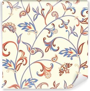 Vinil Duvar Resmi Floral seamless pattern. Çiçek girdap arka plan. fantastik çiçek ve yaprakları ile Arapça süsleme.