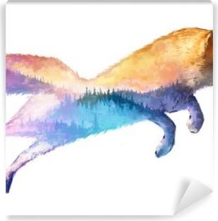 Vinil Duvar Resmi Fox çift pozlama illüstrasyon