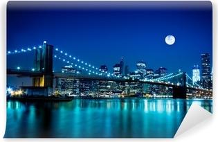 Vinil Duvar Resmi Gece çekimi Brooklyn Köprüsü ve New York