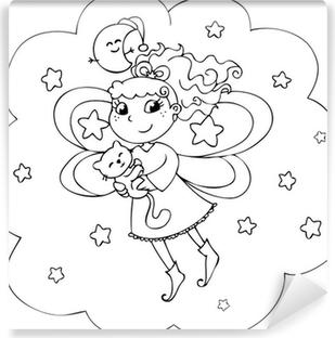 Gece Gökyüzünde Karikatür Boyama Peri Bayan çıkartması Pixerstick