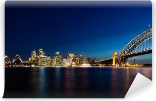 Vinil Duvar Resmi Gece Sydney Skyline