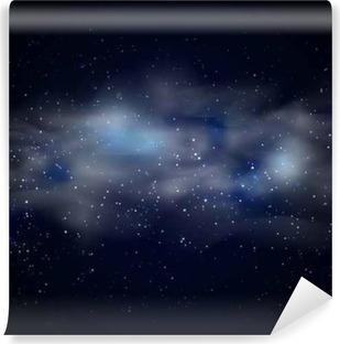 Vinil Duvar Resmi Gece vektör çizim mavi yıldız nebula ile kozmik uzay siyah gökyüzü arka plan