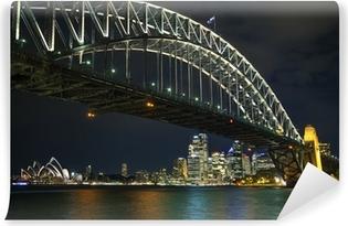 Vinil Duvar Resmi Geceleri Avustralya'da Sydney Harbour Köprüsü