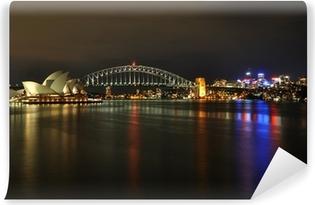 Vinil Duvar Resmi Geceleri Sydney Harbour