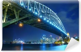 Vinil Duvar Resmi Geceleri Sydney Skyline ve Liman Köprüsü