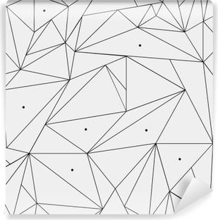 Vinil Duvar Resmi Geometrik basit siyah ve beyaz minimalist desen, üçgen ya da vitray pencere. duvar kağıdı, arka plan veya doku olarak kullanılabilir.