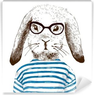 Vinil Duvar Resmi Giyinmiş tavşanı ve illüstrasyon