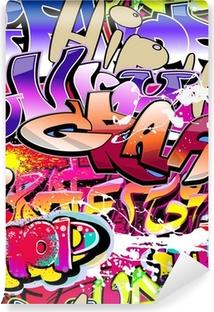 Vinil Duvar Resmi Graffiti seamless background. Hip-hop, kentsel sanat