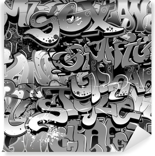 Vinil Duvar Resmi Graffiti seamless background. Kentsel Sanat doku