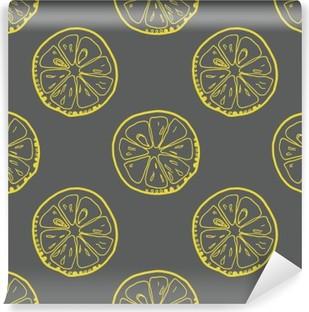 Vinil Duvar Resmi Gri arka plan üzerinde limon dilimleri ile Desen.