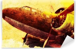 Vinil Duvar Resmi Grunge eski askeri uçak, arka plan