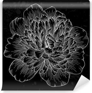 Vinil Duvar Resmi Güzel siyah ve beyaz şakayık çiçek arka plan üzerinde izole edilmiştir. Elle çizilmiş kontur çizgileri ve vuruş.