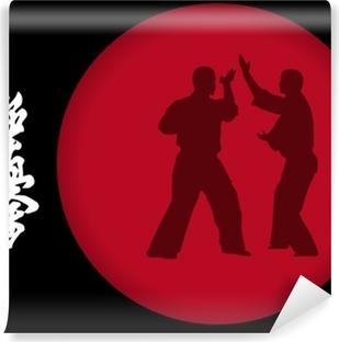 Vinil Duvar Resmi İki adam bir kırmızı zemin üzerine karate yapan