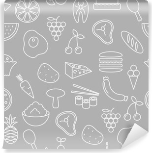 Vinil Duvar Resmi İnce çizgi kesintisiz desen simgeleri. Gıda, sebze ve meyveler web siteleri, uygulamalar, sunumlar, kartlar, şablonlar veya bloglar için gri arka planı icon.