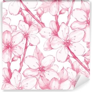 Japon Bahçesi 20 Dikişsiz çiçek Deseni Suluboya Boyama çiçekler