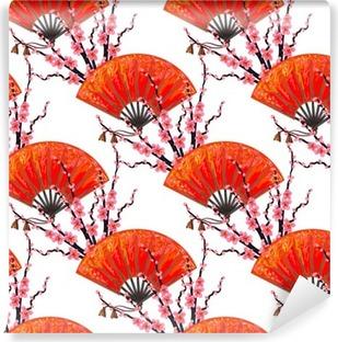 Vinil Duvar Resmi Japon El fan ve sakura kiraz çiçeği vektör arka planı ile sorunsuz Japonya desen. duvar kağıtları için mükemmel, desen doldurur, web sayfası arka planlar, yüzey dokuları, tekstil