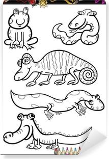 Karikatür Hayvanlar Boyama Kitabı Için Belirlenen Tuval Baskı