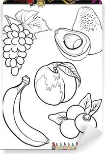 Karikatür Meyve Boyama Kitabı Için Belirlenen Tuval Baskı Pixers