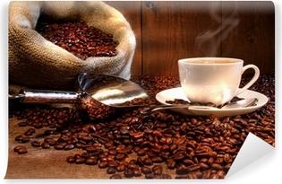 Vinil Duvar Resmi Kavrulmuş fasulye çuvala ile kahve fincanı