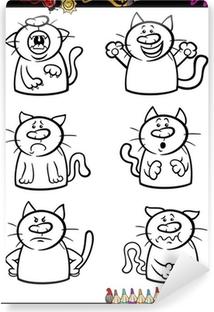 Kediler Duygu Set Karikatür Boyama Kitabı Poster Pixers Haydi