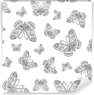 Kelebek Kontur Vektörel Dikişsiz Desen Boyama Sayfa Kitap Arka