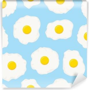 Vinil Duvar Resmi Kızarmış yumurta ile vektör sorunsuz kahvaltı desen