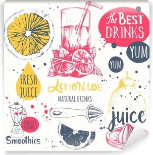 Vinil Duvar Resmi Kroki tarzı içecekler. Faydalı doğal suları ve smoothies.