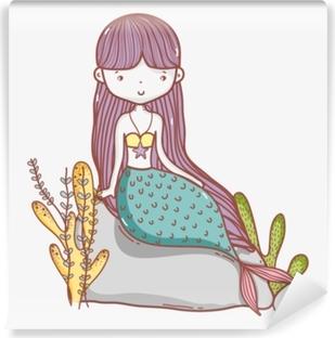 Vinil Duvar Resmi Küçük deniz kızı sevimli çizgi