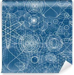 Vinil Duvar Resmi Kutsal geometri semboller ve elemanları kesintisiz desen duvar kağıdı