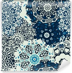 Vinil Duvar Resmi Mandala çiçek sorunsuz desen mavi arka plan