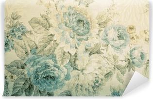 Vinil Duvar Resmi Mavi çiçek Victoria desenli duvar kağıdı
