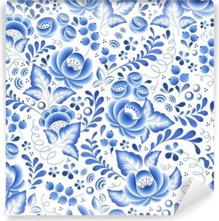 Vinil Duvar Resmi Mavi çiçekler çiçek Rus porselen güzel halk süsleme.