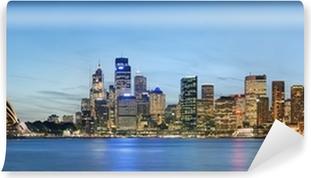 Vinil Duvar Resmi Mavi gökyüzü ile Sidney siluetinin panoramik görünümü