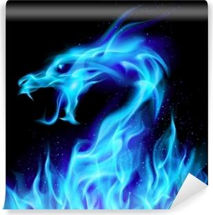 Vinil Duvar Resmi Mavi yangın ejderha