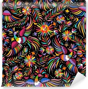 Vinil Duvar Resmi Meksika nakış seamless pattern. Renkli ve süslü etnik desen. Kuşlar ve çiçekler karanlık bir arka plan. Parlak etnik takı ile floral background.