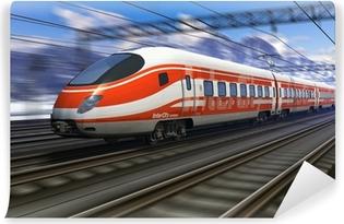 Vinil Duvar Resmi Motion blur ile modern yüksek hızlı tren