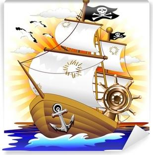 Vinil Duvar Resmi Nef Pirata Karikatür Korsan Gemisi-Vektör